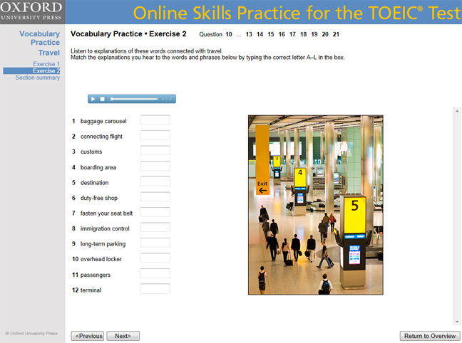 Online Skills Practice for the TOEIC Test screenshot